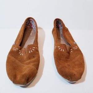 Toms womens suede leather flats sz W9 brown